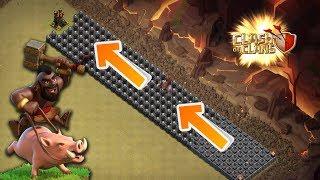 Longest Hog Rider Jump In Clash of Clans   New Troll base   Can Max Hog Do It ???