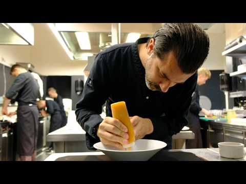 3 Michelin star lamb belly plating by Andreas Caminada, filmed in 4K