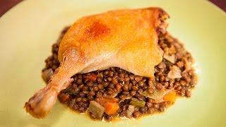 Breville sous vide confit duck with lentil ragu on Everyday Gourmet