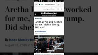 """Trump claims Aretha Franklin """"worked"""" for him.....so disrespectful!"""