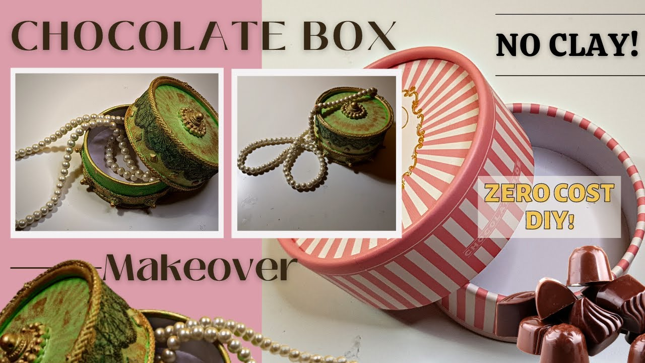 Cardboard Box Makeover 😱  Upcycle Old Chocolate Box | I made Beautiful Vintage Jewelry Box