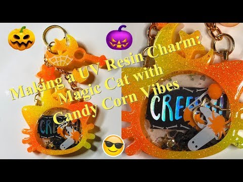 Making a UV Resin Charm: Magic Cat with Candy Corn Vibes