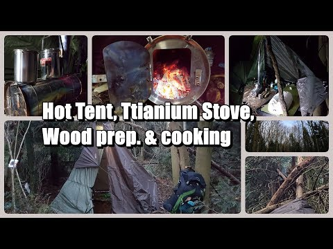 Hot Tarp Tent Wild Camp Dec 2017 - Teepee tent, Wood stove & windy overnighter