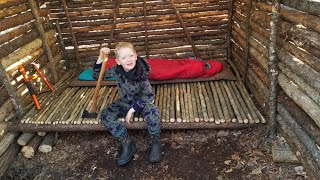 Bushcraft Log Cabin Build - 8 Days Winter Camping & Cooking in Primitive Shelter