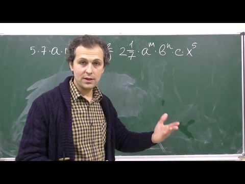 Видеоурок по алгебре одночлены