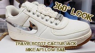 360° 4K Look! Travis Scott Sail Air Force 1 Low! Cactus Jack!