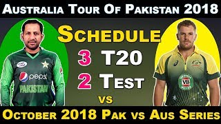 October 2018 - Australia vs Pakistan in UAE 2018 Schedule , Fixture , Venue , Date and Time Table