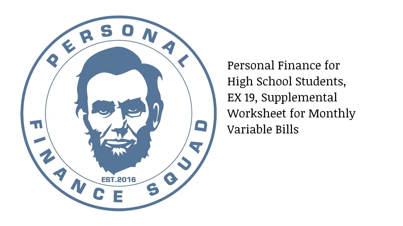 Printables Personal Finance Worksheets For High School personal finance high school students ex 19 supplemental worksheet for monthly variable bills