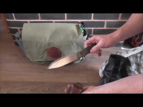 Traditional bushcraft kit . Canvas Haversack and Tarp