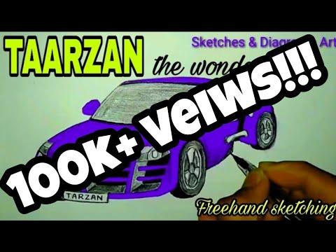 Lets Draw Tarzan The Wonder Car Car Drawing Sketches