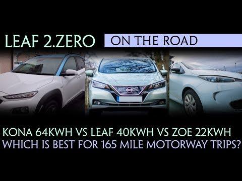 Kona 64kWh Vs Leaf 40kWh Vs Zoe 22kWh - Which is best for 165 mile motorway trips?