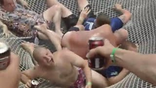 Stag do in Cuba on catamaran and man falls throught tearing net, lmfao lol