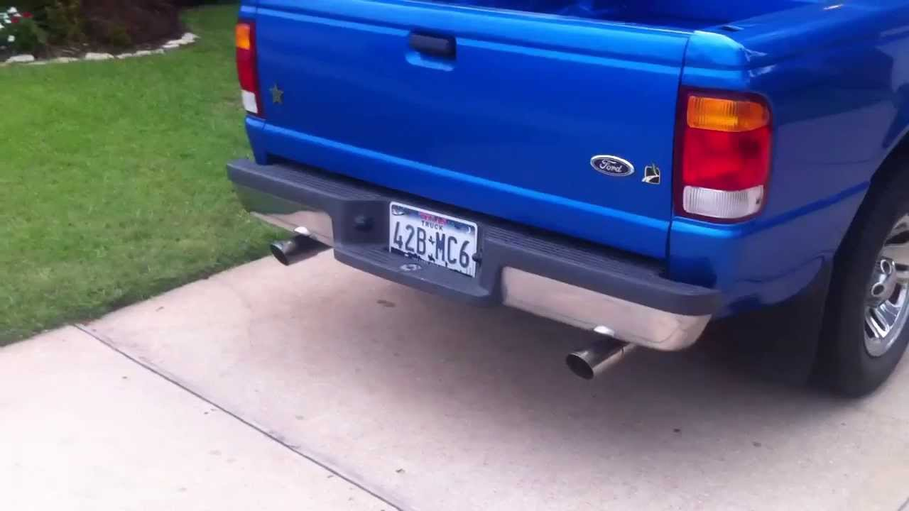Ford Ranger Exhaust Tip >> Gibson Exhaust on 1999 Ford Ranger - YouTube