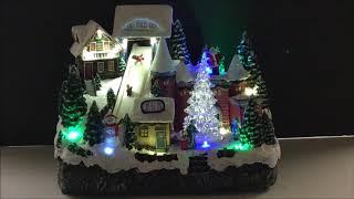 Light Up Animated Christmas Village Musical Ski Resort Tabletop Holiday Decoration