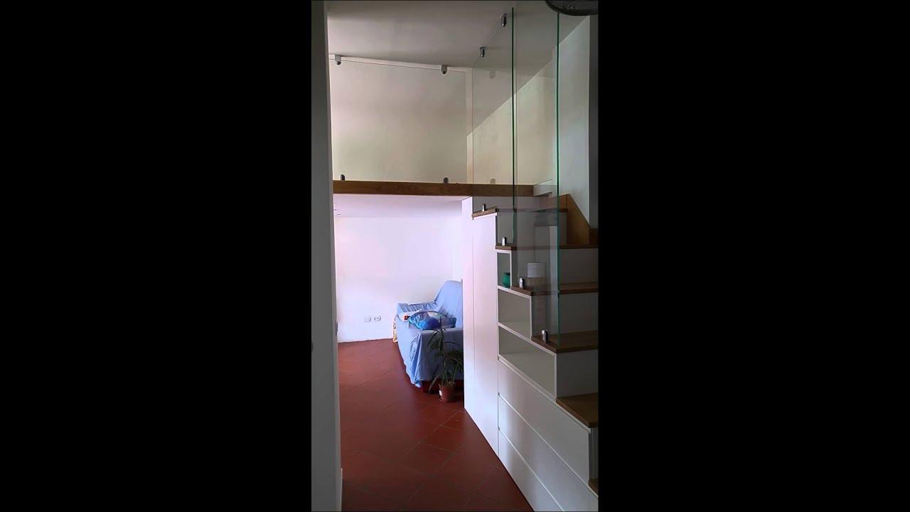 Eccezionale scala per soppalco con ringhiera in vetro - YouTube BR18