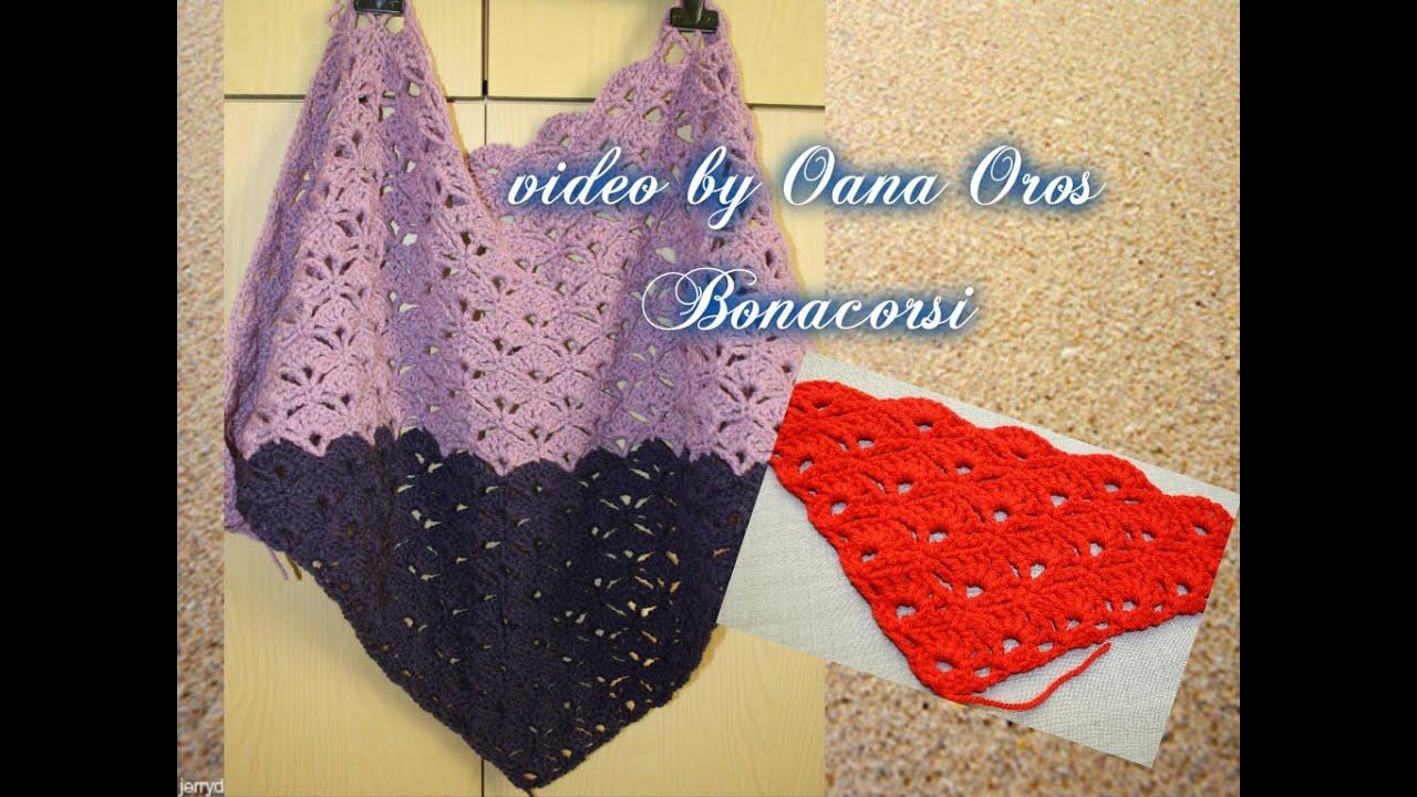 crochet triangular shawl with shell stitch - YouTube
