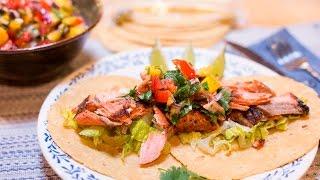Blackened Salmon Tacos with Mango Salsa Recipe (30 minutes)