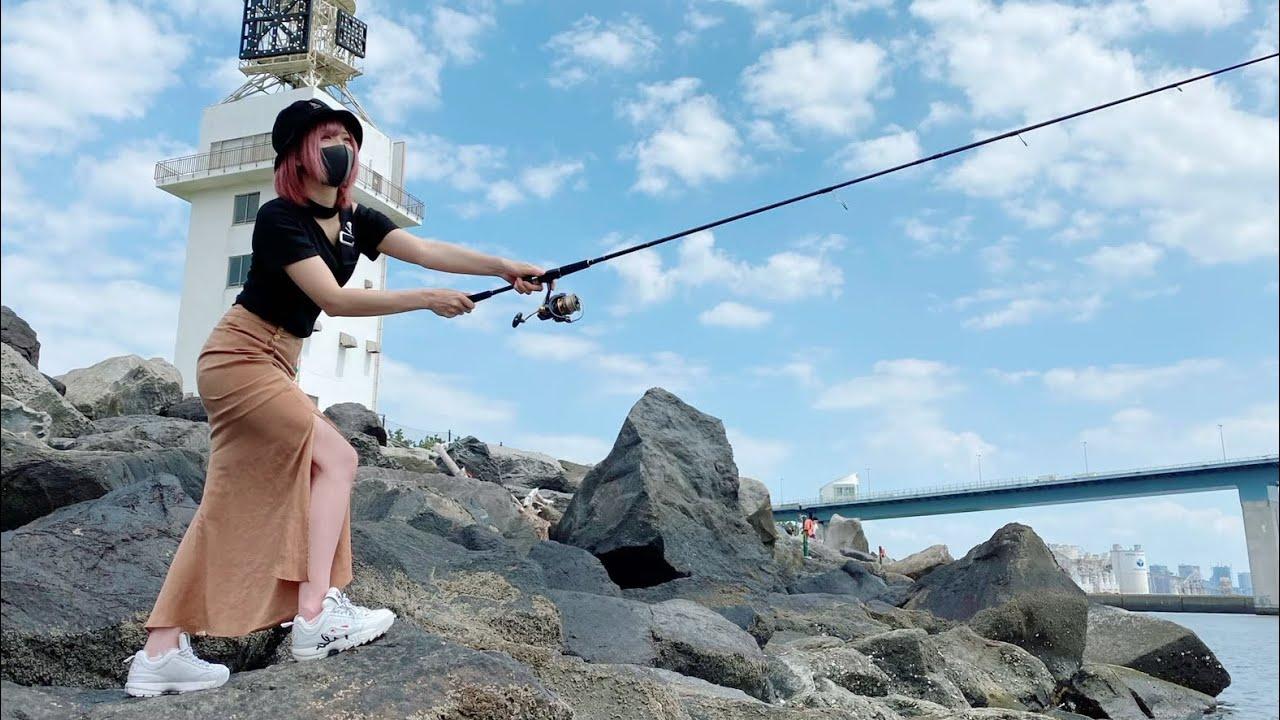 【釣りガール】早くもさよなら。購入した竿を海にぶち混む