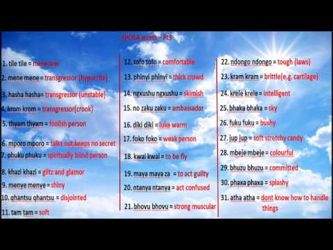 Learn to speak the Most High's language Xhosa - Part 3