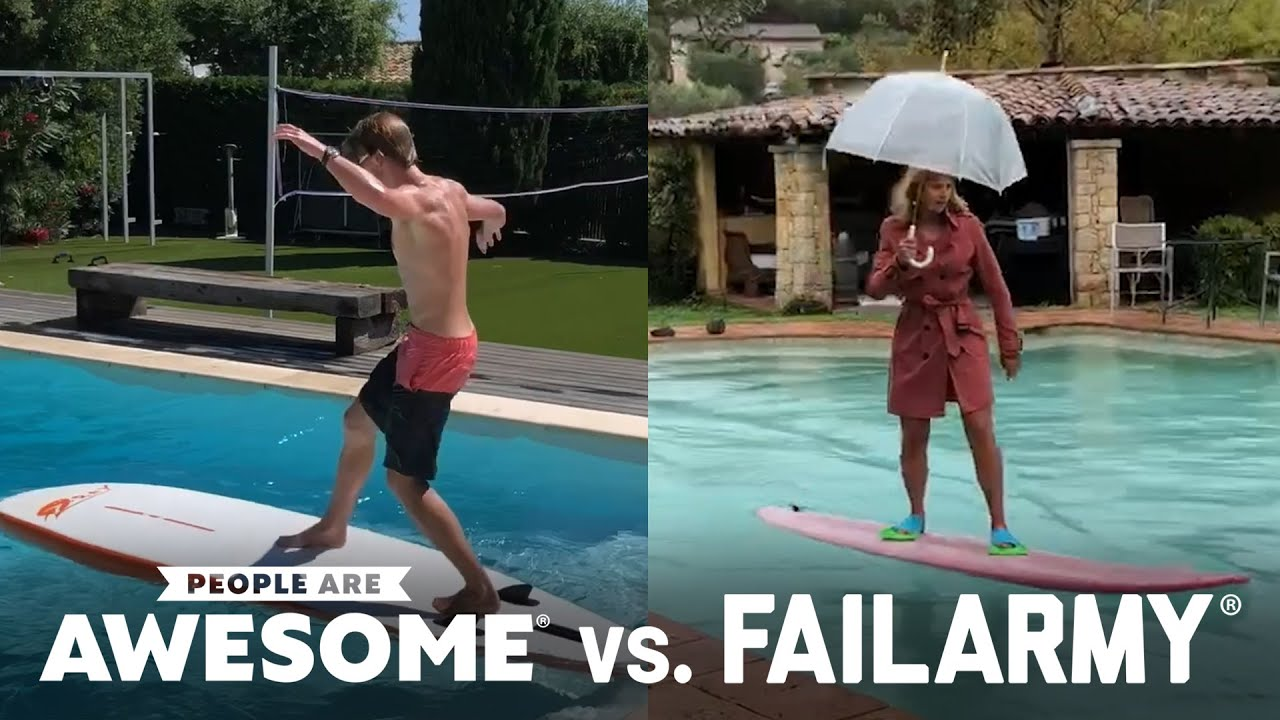 Extreme Pool Surfing | People Are Awesome vs. FailArmy