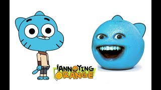 Annoying Orange Characters as The Amazing World of Gumball