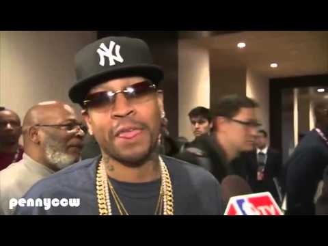 "Allen Iverson ""video bomb"" Shaq interview by Isiah Thomas *FULL"