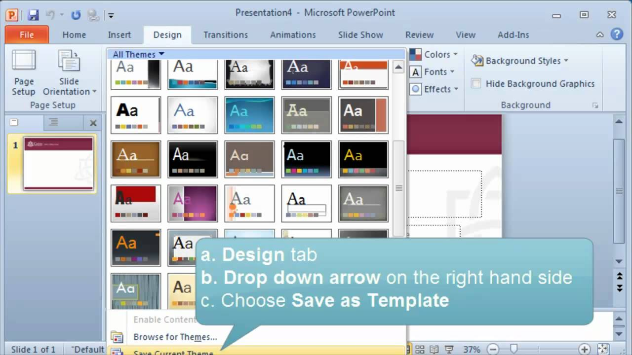 Creating and setting a default template or theme in PowerPoint ...