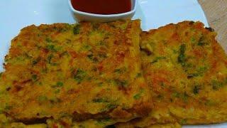 Bread Besan Cheela Recipe - Veg Bread Besan Cheela - Mix Veg Bread Cheela Toast / Cheela Recipe