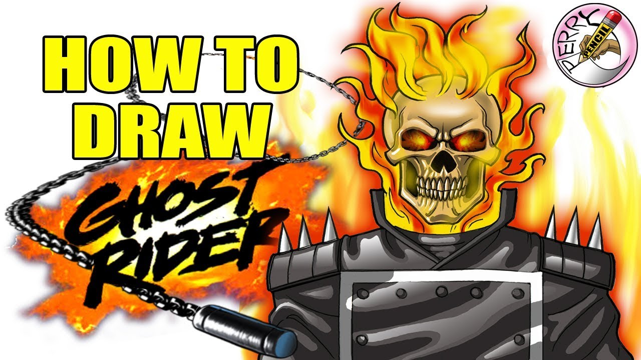How to draw ghost rider step by step easy narrated tutorial