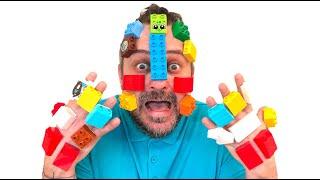 Pretend play Lego face and lego hands | Super Eva