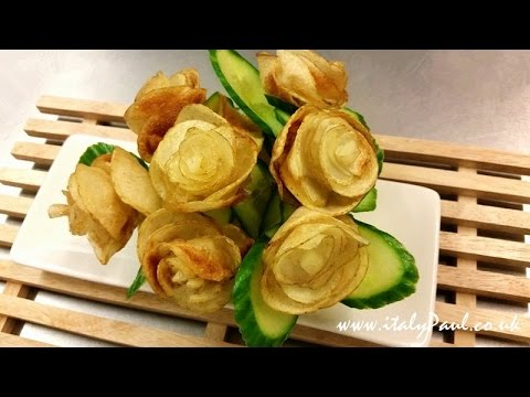 How to Make Potato Chips Flowers - Vegetable Carving Garnish - Potato Art - Food Decoration