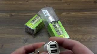 """ОБЗОР: Автомобильное Металлическое Зарядное Устройство на 2 USB """"Golf"""" (2,1A max)"""