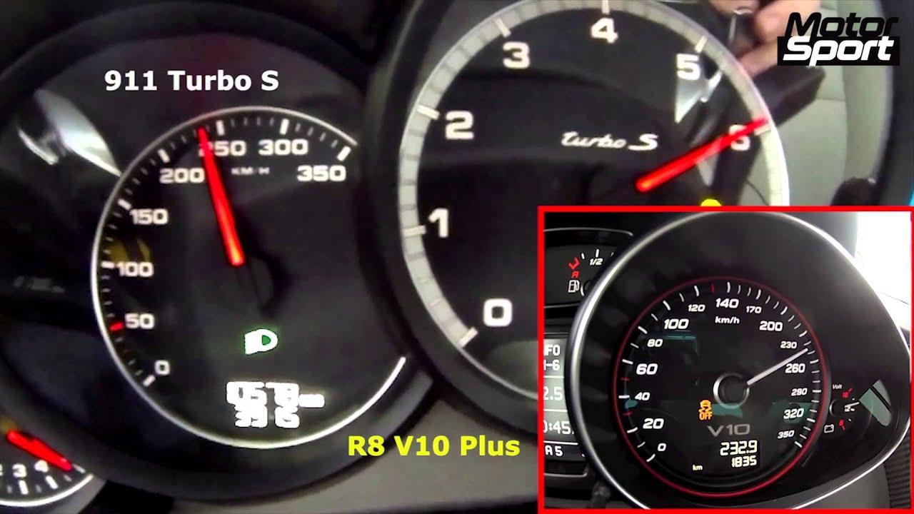 0 250 km h porsche 911 turbo s vs audi r8 v10 plus