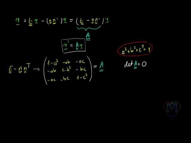 Origón átmenő síkra való vetítés mátrixának felírása