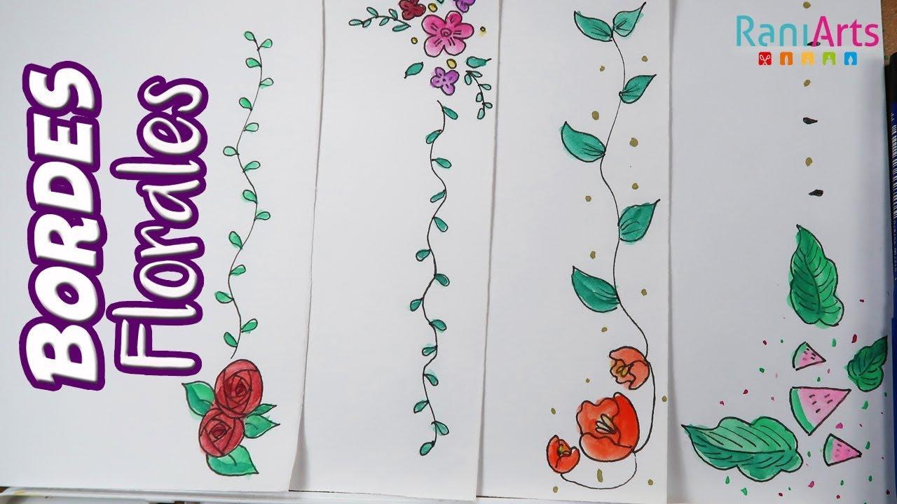 Libreta De Dibujo Mandala Unicornio Papel Blanco: BORDES / MÁRGENES FLORALES!!! (Decora Tus Apuntes O