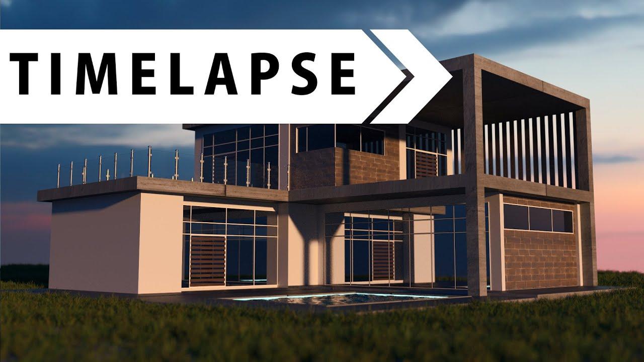 Modern house modeling texturing rendering blender timelapse youtube