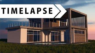 Modern House - Modeling, Texturing, Rendering (BLENDER TIMELAPSE)