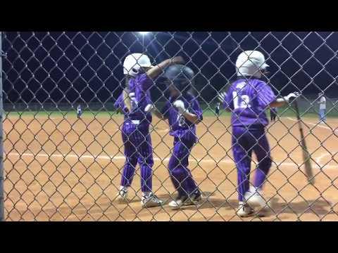 Girls softball machine pitch 8U home run