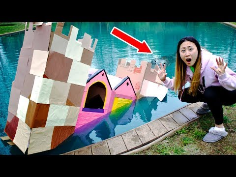 BOX FORT CASTLE ON WATER!! MONSTER IN POND