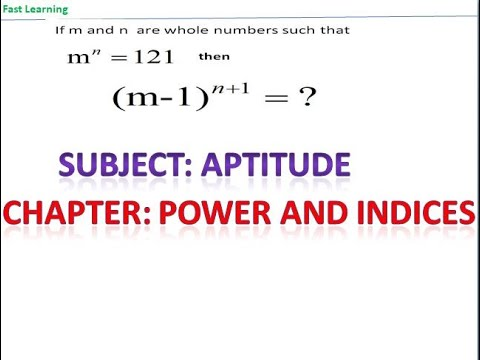 Subject: Aptitude | Chapter: Power and Indices | Topic: Power and Indices | Exam Name-SSC
