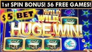 1st SPIN BONUS! $5 BET OCEAN MAGIC SLOT MACHINE - MGM SPRINGFIELD WINNING!