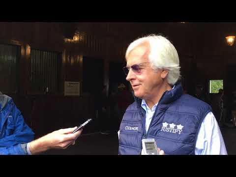 Bob Baffert talks about Justify following his arrival at Ashford
