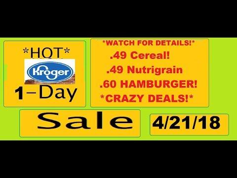 *HOT* 1-DAY SALE- KROGER- .49 CEREAL! .60 HAMBURGER! .49 NUTRIGRAIN!- 4/21/18