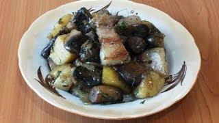 Картофель, тушеный с грибами и свининой/Potatoes, braised with mushrooms and pork
