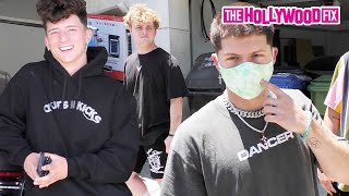 Tony Lopez Talks #Tonick & Sofie Dossi While Michael Sanzone Shows Off New Tatts At The Hype House