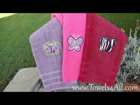 butterfly-first-initial-applique-colored-bath-towel---video-demo
