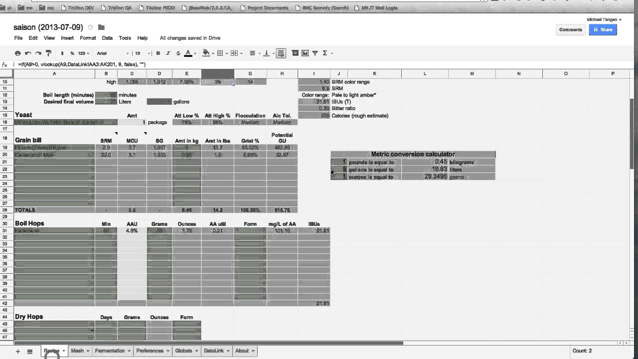 How to use the all-grain brewers worksheet in Google Docs // Brew ...