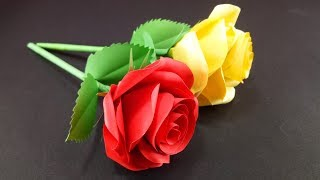 How to Make Easy and Simple Rose Flower : DIY Paper Crafts
