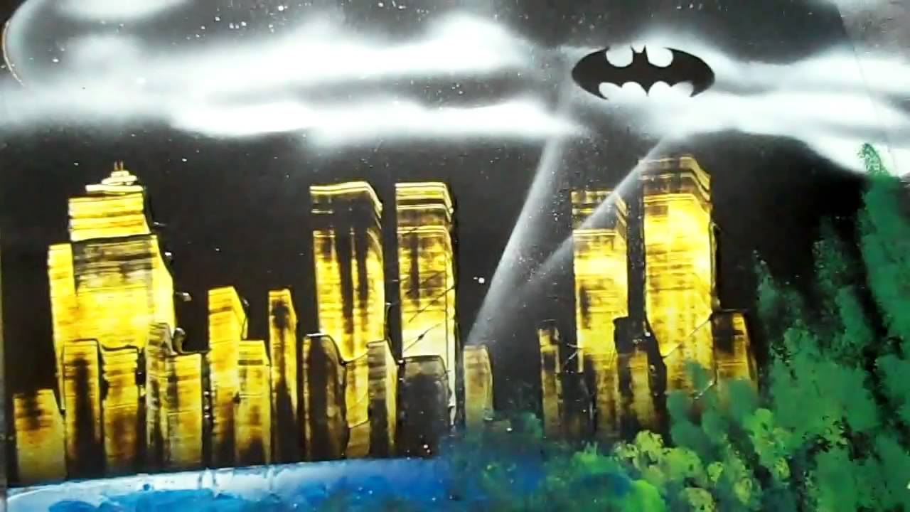 spray paint art gotham city youtube. Black Bedroom Furniture Sets. Home Design Ideas
