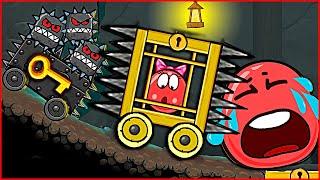Девочка Шар в КЛЕТКЕ на КОЛЁСИКАХ с Шипами напала на Красный Шарик ! Игра red ball 4 для детей !